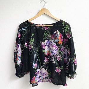 Francesca's : Black Floral Blouse Size Small